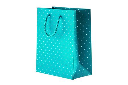 Blue paper bag on white background.
