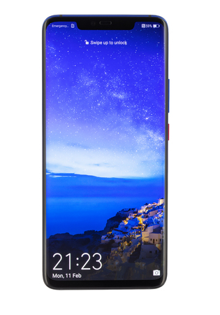 Varna, Bulgaria - February, 11, 2019: Studio shot of a  HUAWEI Mate 20 Pro Twilight smartphone, with 40 MP, f 1.8, 27mm Leica optics, Octa-core  and 1440 x 3120 pixels, Display Resolution. Editorial