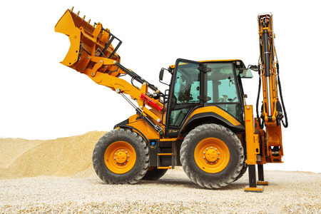 Backhoe loader or bulldozer - excavator isolated on white