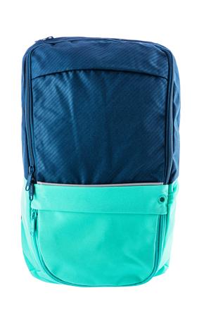 Blue backpack isolated on white background.