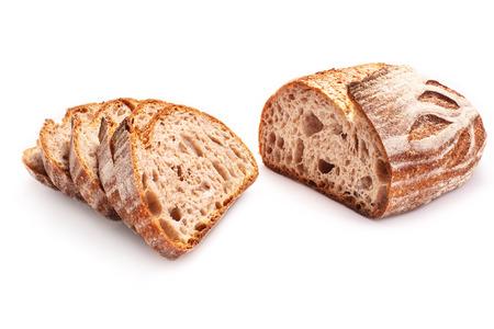Slice of sourdough whole wheat freshly baked bread on white background.