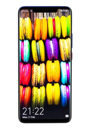 Varna, Bulgaria - February, 11, 2019: Studio shot of a  HUAWEI Mate 20 Pro Twilight smartphone, with 40 MP, f 1.8, 27mm Leica optics, Octa-core  and 1440 x 3120 pixels, Display Resolution. Stock Photo