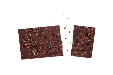 Handmade, bio chocolate with nibs isolated on white background