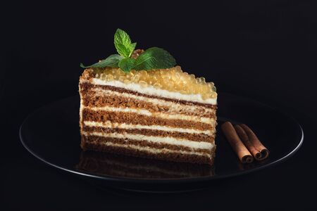 Honey cake with golden pearls and mint leaf and cinnamon on  black plate isolated on black background 스톡 콘텐츠