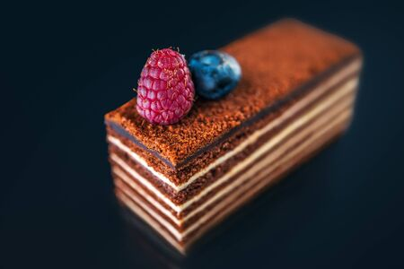 Cake piece chocolate with milk cream and fruits isolated on black background. Reklamní fotografie