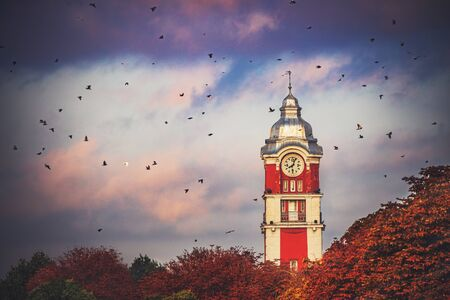 Old tower clock of railway station of Varna city, Bulgaria and flying birds at sunrise image