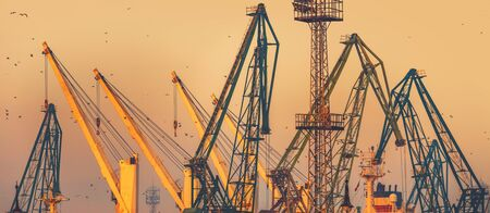 Sunset over industrial cranes at commercial sea port of the city of Varna, Bulgaria image Reklamní fotografie