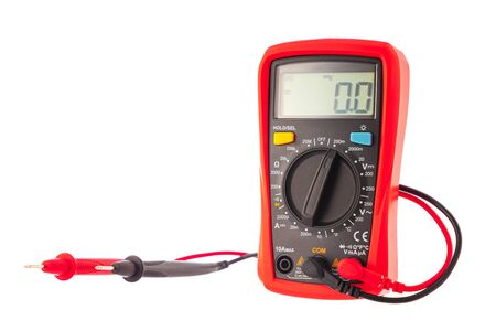 Multimeter to check electricity voltage isolated on white background.