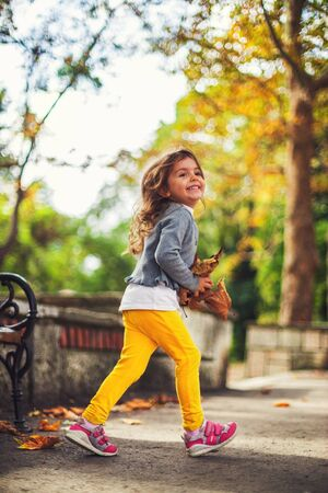Beautiful little girl in a autumn park Reklamní fotografie