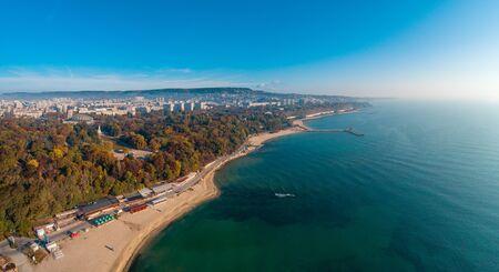 Varna, Bulgaria cityscape, aerial drone view over the city skyline Stock Photo