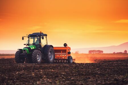 Farmer with tractor seeding crops at field on sunset 免版税图像