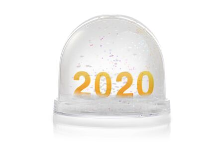 Paperweight with glitter isolated on white. Happy new year 2020 concept