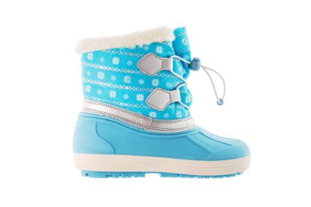 Winter snow blue boots on white background.