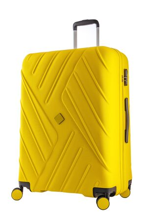 Suitcase with luggage for flight isolated with clipping path.
