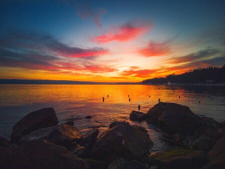 Beautiful cloudscape over the sea, sunset shot Stock Photo