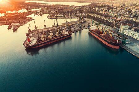 Aerial view of sea port and industrial harbor zone in Varna, Bulgaria. Stock Photo