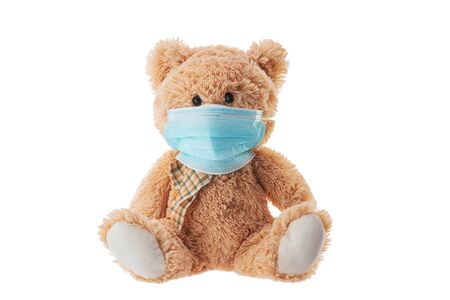 Teddy bear toy with protective mask. Protective from virus covid19