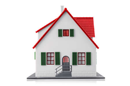 Miniature house isolated on a white background with clipping path. Real estate family home for sale