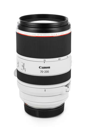 Varna, Bulgaria - August 05,2020: Image of  Canon RF 70-200mm f 2.8L IS USM Lens on a white background. Canon is the world largest SLR camera manufacturer. Editöryel