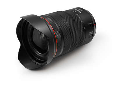 Varna, Bulgaria - August 04,2020: Image of  Canon RF 15-35mm f 2.8L IS USM Lens on a white background. Canon is the world largest SLR camera manufacturer.