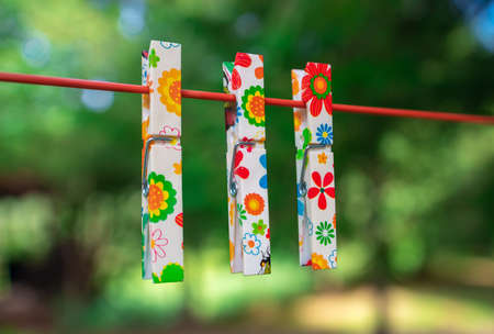 Colorful clothespins on clothesline Stok Fotoğraf