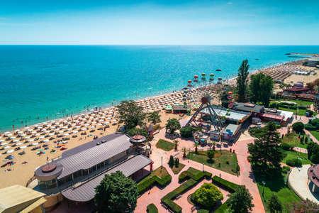 Aerial view of Golden Sands beach resort , Zlatni Piasacithe near Varna, Bulgaria