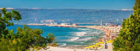 Varna, Bulgaria. Cityscape, summer aerial view toward beach. People having fun. Best holiday destination