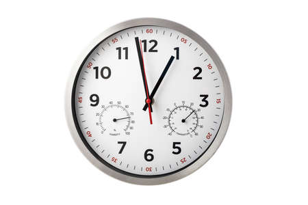 Modern wall clock shows hours, minutes, temperature, humidity isolated on white Reklamní fotografie