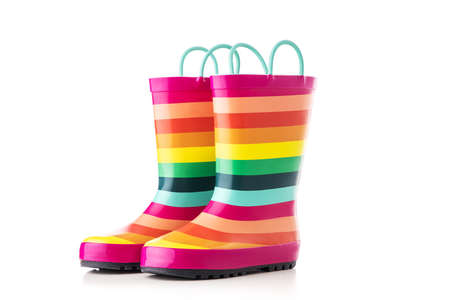 Rubber kid rain boots colorful print. Foot wear for children isolated on white background