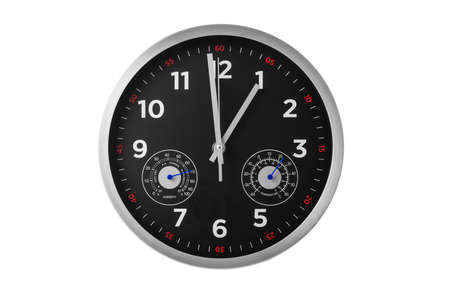 Modern clock showing hours, minutes, temperature, humidity Reklamní fotografie
