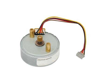 electromechanical: Small electric stepping motor with a cable.