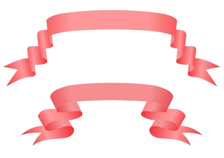 Red ribbons on a white background Vector