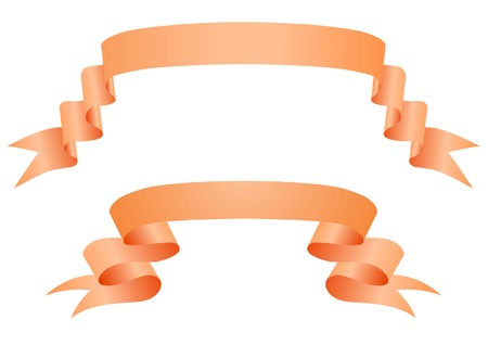Orange ribbons on a white backgroun Vector