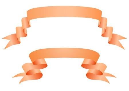 sign orange: Orange ribbons on a white backgroun