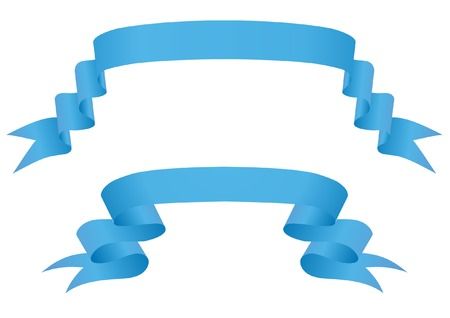 Blue ribbons on a white background Vector