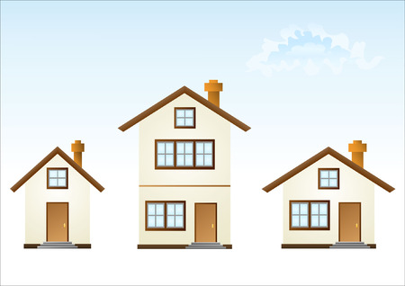 residential structures: Three houses (vector illustration)