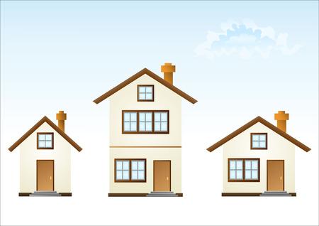 detached: Tres casas (ilustraci�n vectorial)
