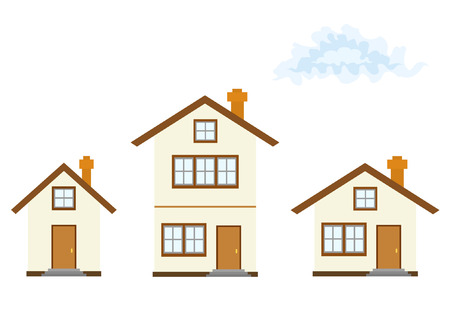 domiciles: Three houses (vector illustration, without gradients) Illustration