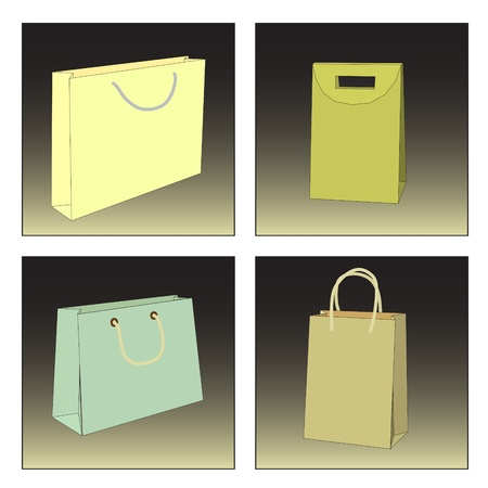 A variety of bags and shopping bags of different shapes and colors Stock Vector - 12253054