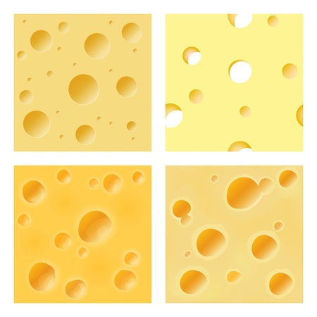 Several seamless patterns representing the surface of hard cheese Vector
