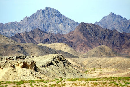 Sinai Peninsula and its colorful mountains - view from the ship in the reserve of Ras Mohamed                     Stock Photo