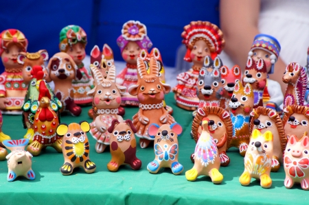 Belarussian ethnic painted clay toys                  photo