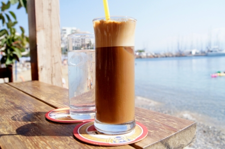 Iced coffee at a cafe in a coastal cafe