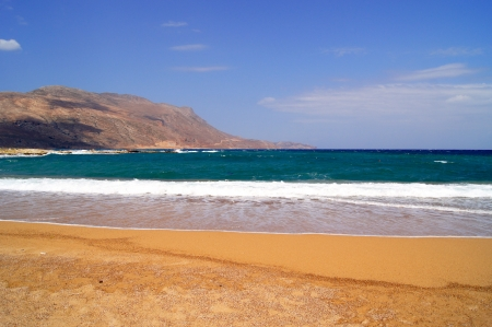 Beautiful view of Balos Bay with orange sand on the island of Crete             photo