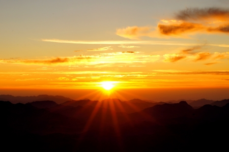 sinai: Sunrise over Mount Sinai in Egypt Stock Photo