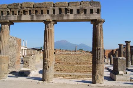 The ancient shrine in Pompeii and Vesuvius photo