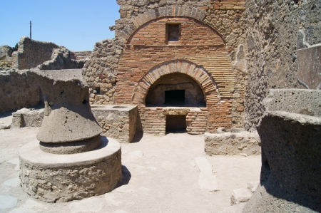The complex of mills and bakeries in ancient Pompeii Stock Photo