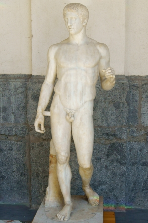 Marble statue of Doriphor in the museum of Naples