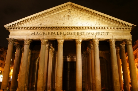 Night lighting of the facade of the Pantheon in Rome