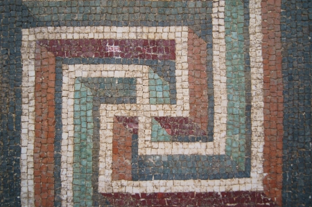 The mosaic pattern - a design element of antique fountain villas in Rome photo